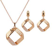 Moda geométrica conjunto de jóias para as mulheres corrente de ouro pingente colar femme gargantilha brincos de casamento vintage senhoras presentes de festa