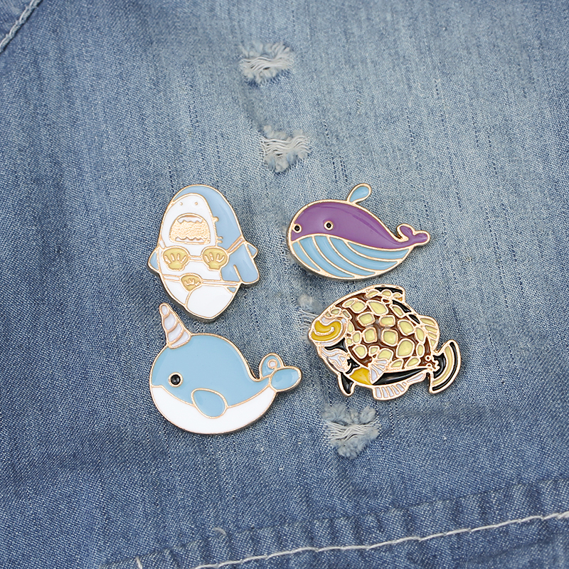 Cartoon Cute Sea World Dolphin Fish shark new space cosmic whales Brooch Pins Button Pins Jeans Clothes Jewelry gift