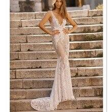 HA059 חם סגנונות ברטה עיצוב עמוק V צוואר עירום כלה בת ים חתונת שמלות פתוח V חזרה משפט רכבת ללא שרוולים חתונה שמלת