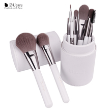 DUcare professional Cosmetics Set 8pcs Travel Makeup Brushes High Quality Synthetic Hair Natural wood Handle With White Cylinder