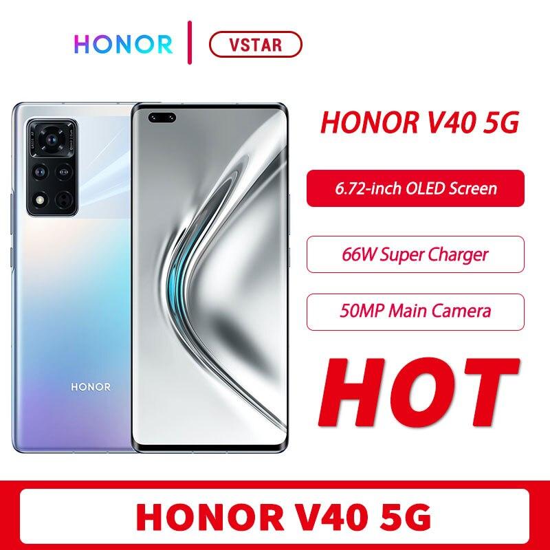 Oryginalny HONOR V40 5G SmartPhone 6.72 ''ekran OLED 120Hz Dimensity 1000 + Octa Core odblokowanie twarzą 50MP kamera 50W bezprzewodowa ładowarka