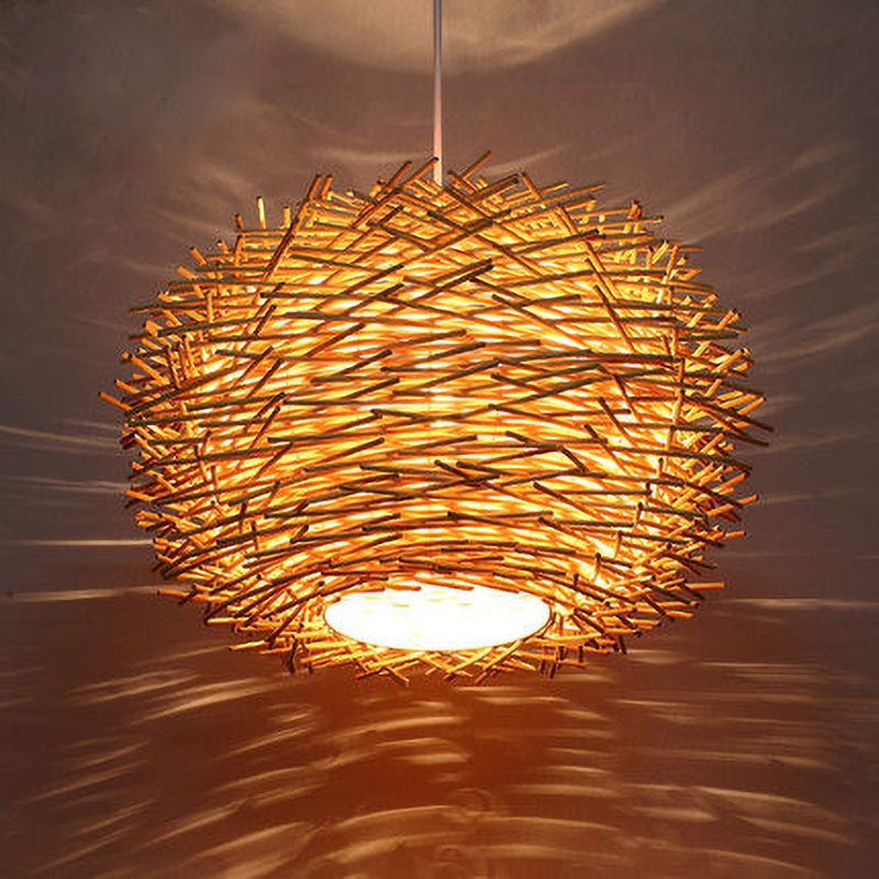 Handmade Bird Nest Pendant Light Wicker Wood Hotel Restaurant Dinning Room Cafe Bar Nordic Rattan Lustre Modern Hanging Suspension