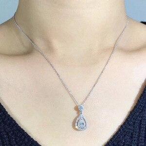 925 Sterling Silber Halskette FL Diamant Anhänger für Frauen Hochzeit Bizuteria Edelstein Schmuck Anhänger 14K Rose Gold Halsketten