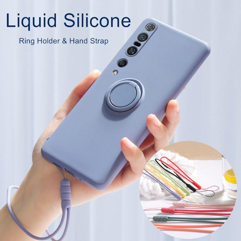 Original Liquid Silicone Case For Xiaomi Redmi Note 9 8 7 Pro 9S 10X K30 Mi 10 Pro 9 8 Note 10 Lite Ring Holder Hand Strap Cover(China)