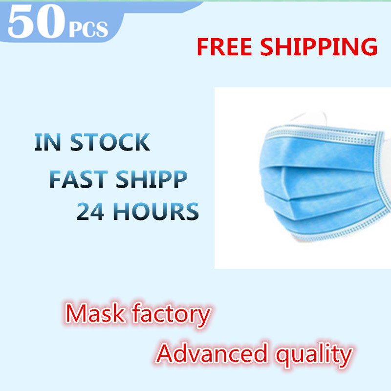 Stock Hot Sale 50 Pcs Solid Face Protection Mouth Mask Masks Dust  Non Woven Disposable Anti-Dust  Earloops Masks M40