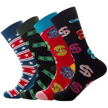 Cotton Socks For Men And Women Personality Cartoon Geometric Stripe And Banknote Pattern Breathable Mid-Tube Socks