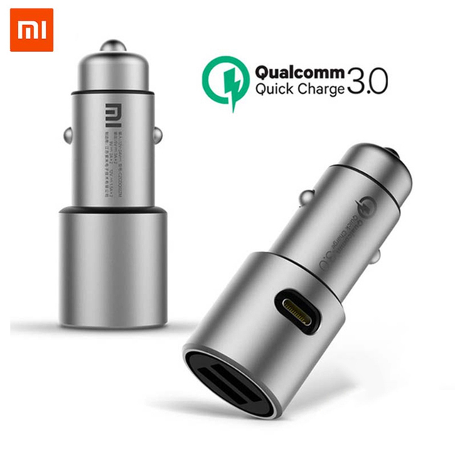 Xiaomi Car Charger QC 3.0 Dual USB Quick Charge 5V/3A 9V/2A Mi Car Charger For Android iOS For iPhone Mobile Phone