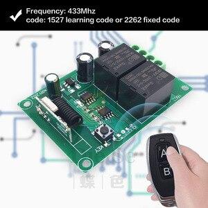 Image 3 - جهاز التحكم عن بعد 433Mhz تيار مستمر 12 فولت 2CH rf التتابع جهاز إرسال واستقبال ل كراج عن بعد التحكم وتغيير المحرك السلبية الإيجابية
