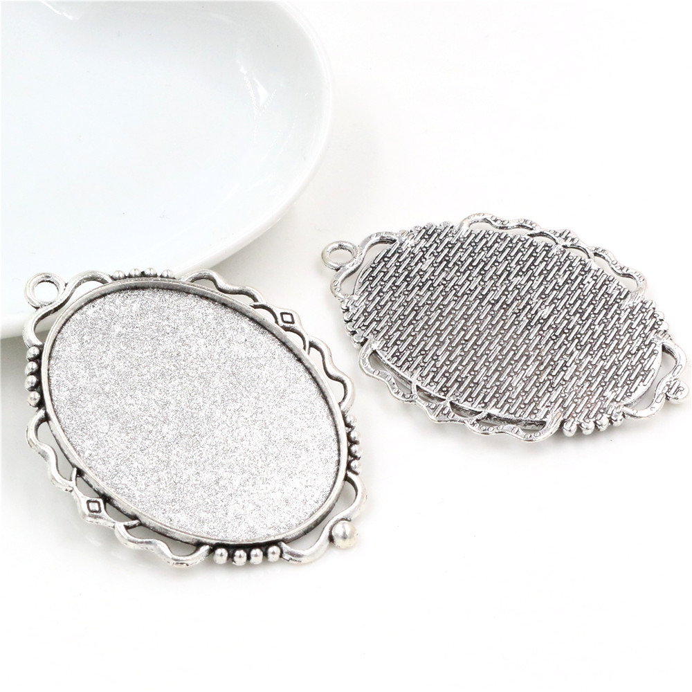 5pcs 30x40mm Inner Size Antique Silver Plated Pierced Style Cabochon Base Setting Charms Pendant (B3-53)