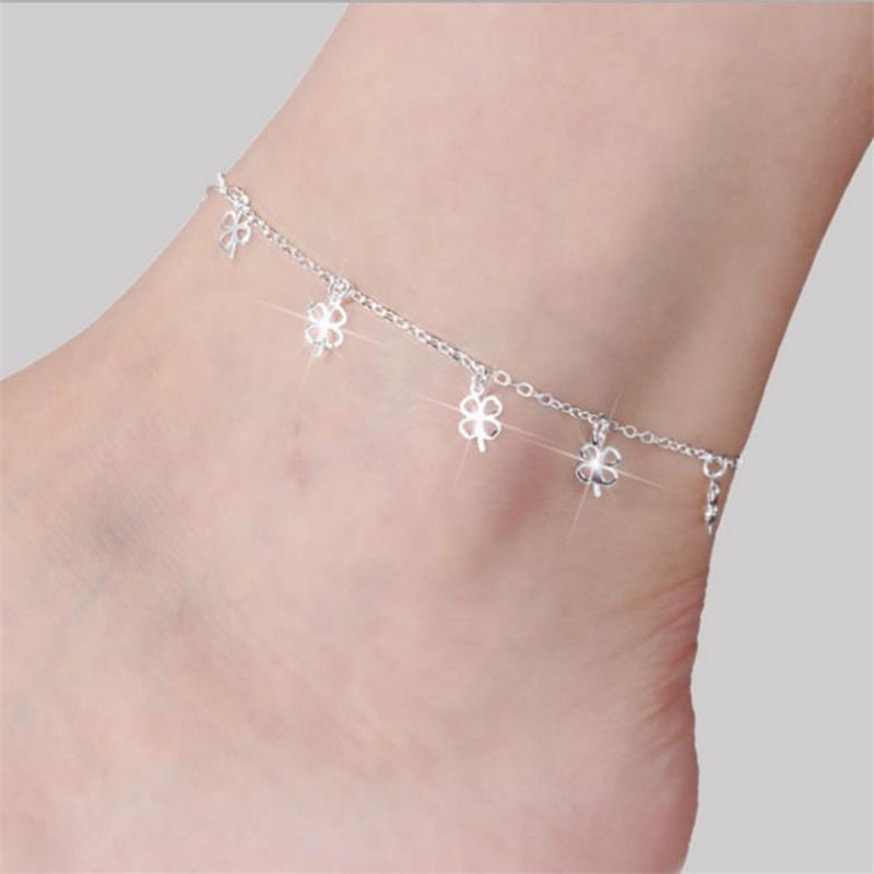 Charm Clover Anklets For Women Jewelry Trendy 925 Sterling Silver Anklet Female Party Accessories Girls Bracelet