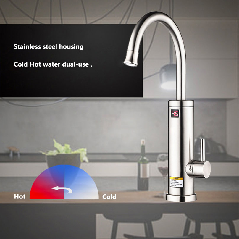 220V Electric Water Heater Tap Stainless Steel 360 Degree Rotation Kitchen Faucet Instant Hot Water Heater Tap with Led Display|Electric Water Heaters| |  -