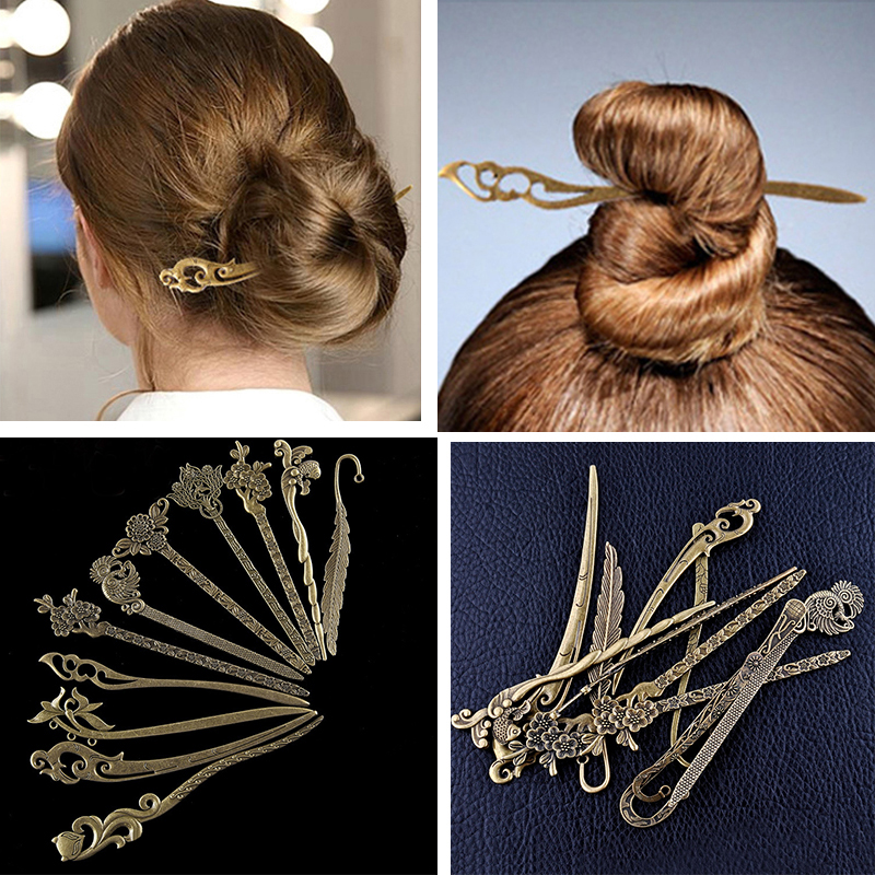 New Bronze Vintage Hair Sticks Variety Styles Headbands For Women Elegant Lady Hair Pin Fashion Alloy Hair Clip Hair Accessories
