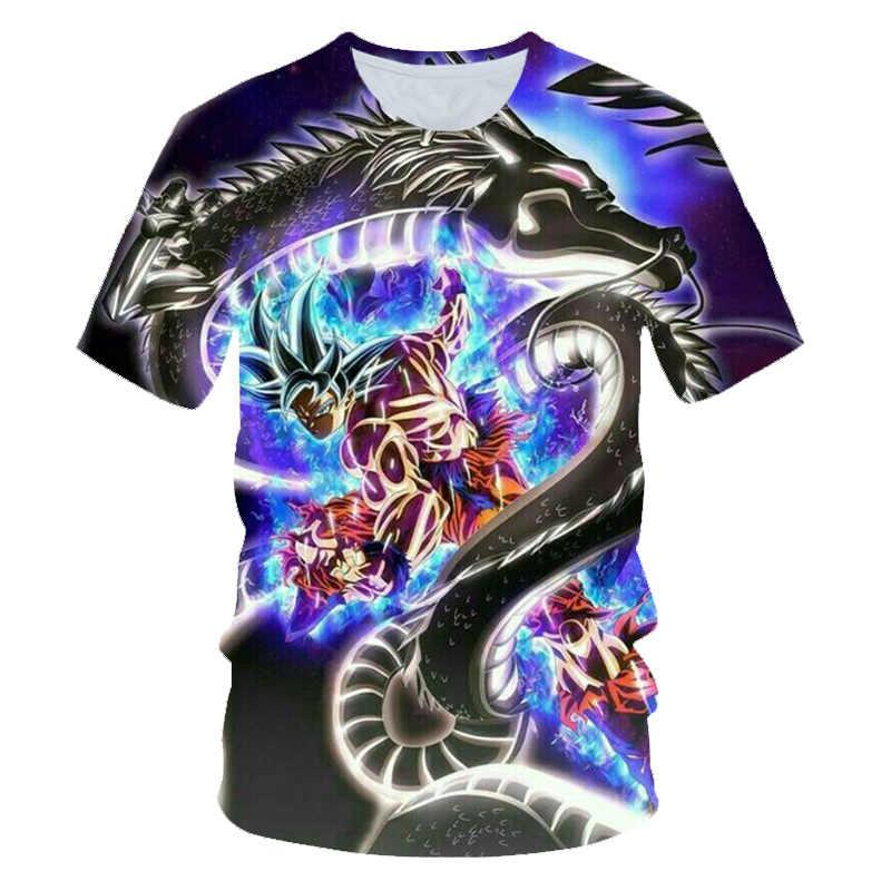 Nieuwe 2019 Mannen 3D T-shirt Dragon Ball Z Ultra Instinct Goku Super Saiyan God Blauw Vegeta Gedrukt Cartoon Zomer t-shirt Maat 6XL