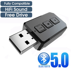 USB Bluetooth 5.0 récepteur émetteur mains libres AUX RCA 3.5MM voiture TV PC stéréo sans fil Audio adaptateurs Dongle avec micro