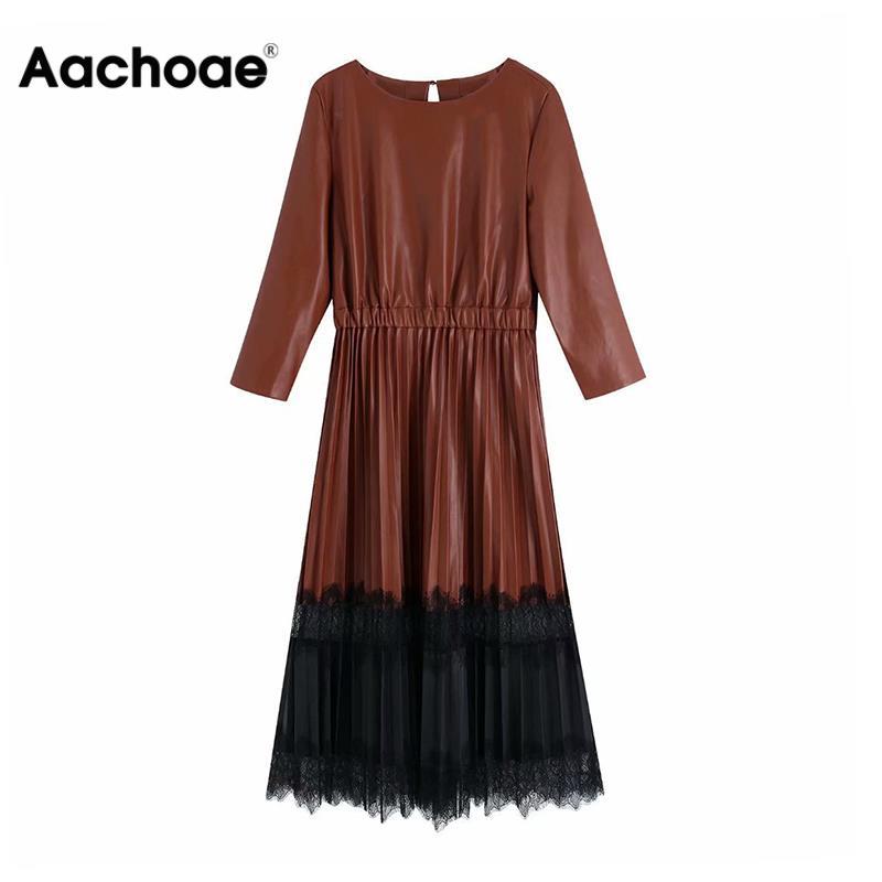 Vintage Lace Patchwork Pu Leather Women Dress Ladies Three Quarter Sleeve Pleated Midi Dresses Fashion Elastic Waist Long Dress