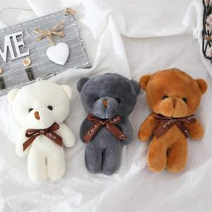 Toy Keychain Plush-Toy Pendant Teddy Bear-Doll Stuffed 12cm Soft Gifts A-Tie PP Cotton