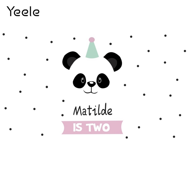 Yeele Cartoon Panda Polka Dots Baby Birthday Party sfondi per fotografia sfondo fotografico personalizzato per Studio fotografico