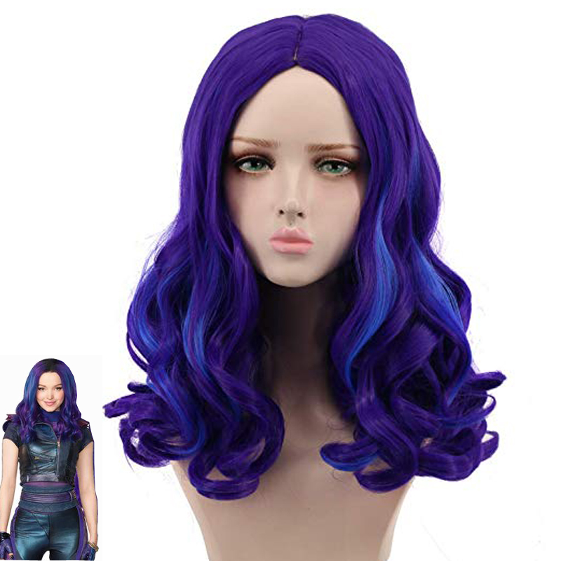 Descendants 3 Mal Wig Adult Long Curly Synthetic Hair Fashion Costume Cosplay Wigs For Women + Wig Cap