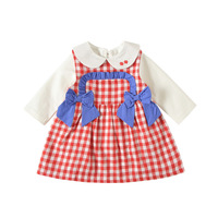 Little Girls Long Sleeve Dress Fall Red Plaid Pattern Cotton Baby Girl Clothes Boutique Kids Clothing for Christmas Outfits