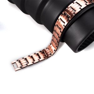Image 4 - Hottime Double Row 4 IN 1 Bio Elements Energy Magnetic Bracelet Mens Fashion Healing 99.95% Pure Copper Bracelets Bangles