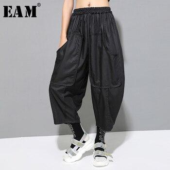 [EAM] High Elastic Waist Black Pleated Split Long Wide Leg Trousers New Loose Fit Pants Women Fashion Spring Summer 2020 1U807