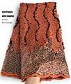 5 ярдов мягкий ручной работы элегантный Африканский Французский кружевной ткани блестящая Свадьба Нигерия Гана праздничное платье с блест...