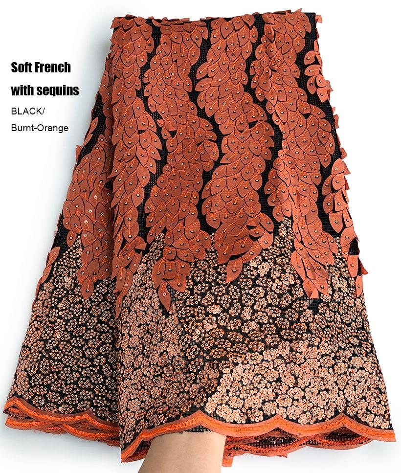 5 yards Soft hand cut Elegant African french lace fabric Shiny wedding Nigeria Ghana celebration dress with sequins good choice