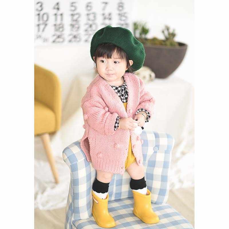 2019 תינוק סתיו חורף בגדי תינוק בנות סרוג קרדיגן מעיל סוודר למעלה בעבודת יד בועת כדור מוצק ילדי בגדי 6M -3T
