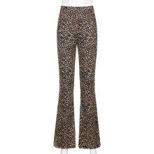 Sweetown brązowy Leopard Y2K biegaczy kobiety wysokiej talii spodnie Flare dwuwarstwowa siatka E dziewczyna estetyczne spodnie kobiece spodnie dresowe