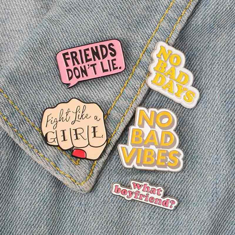 Quote Enamel Pin สตรีนิยม Girl power คนแปลกหน้าไม่ดี VIBES badge เข็มกลัด Lapel pin กางเกงยีนส์เสื้อกระเป๋าการ์ตูนเครื่องประดับของขวัญ