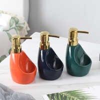 Keramik Dual verwenden Flüssige Seife Dispenser Bad Lotion Flasche Waschmittel Hand Sanitizer Flasche mit Schwamm lagerung rack mx9211433