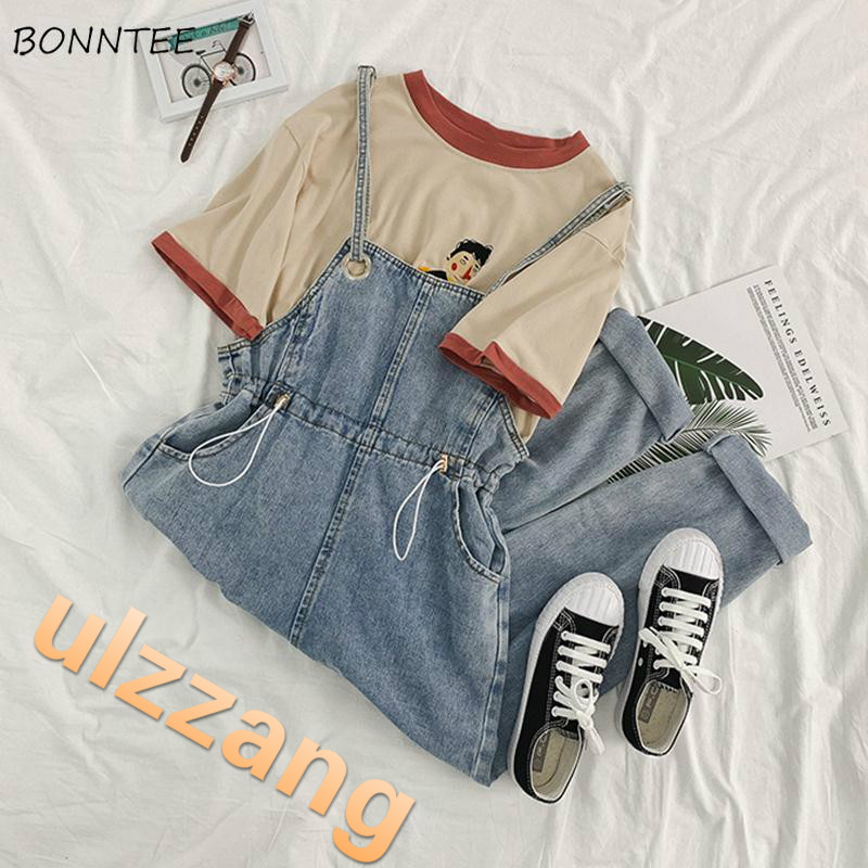Jumpsuits Women Korean Style Chic Ankle-length Loose Daily Spring Autumn New All-match Trendy Pockets Solid Simple Womens Kawaii