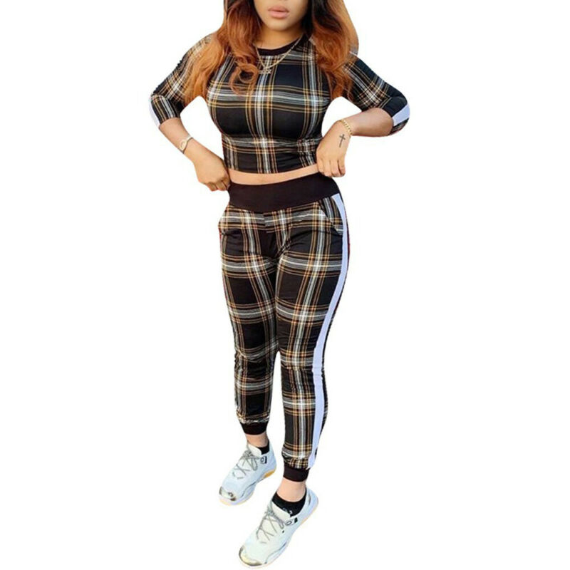 New Hot Fashion Autumn Winter Women Plaid Pattern Two-piece Suit Cropped Top+Pant Trousers Casual Slim Playsuit Outfit Set Suits