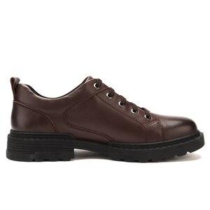 Image 2 - Zapatos de hombre de cuero genuino CAMEL Otoño, vestido de negocios inglés, zapatos de papá cómodos informales, calzado antideslizante de cuero cabelludo grande para hombre
