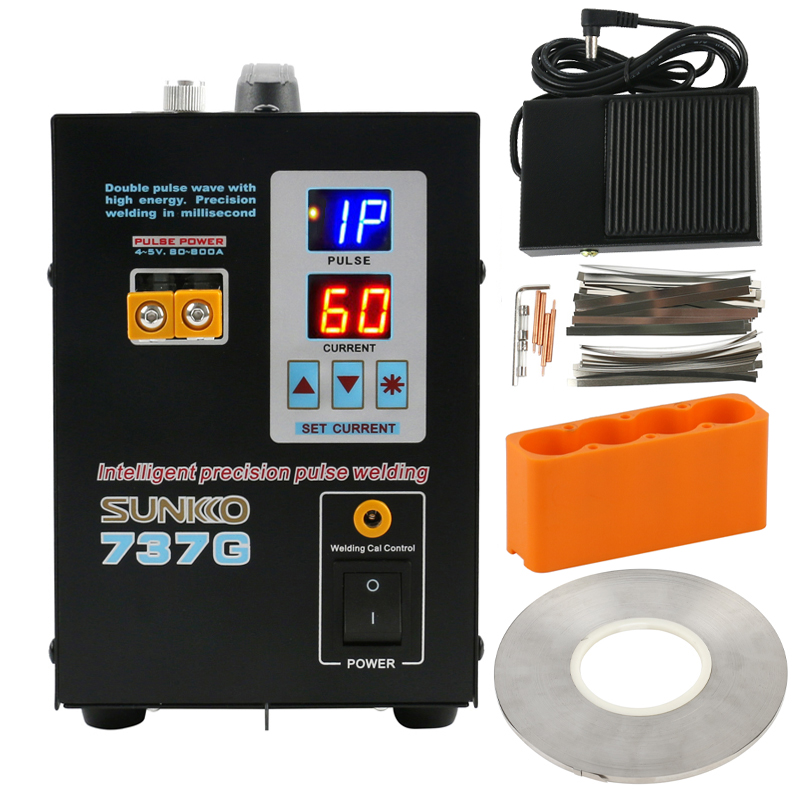 SUNKKO 737G Battery Spot Welding Machine + 1KG 0.1*5MM Nickel Sheet Plate Strip Connector Double Pulse Wave