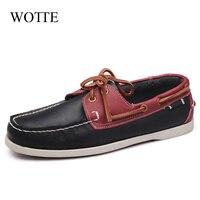 WOTTE Frühling Solide herren Boot Schuhe Mode Leder Loafers Beleg Auf & Lace Up Casual Schuhe Mann Bequeme Faul schuhe