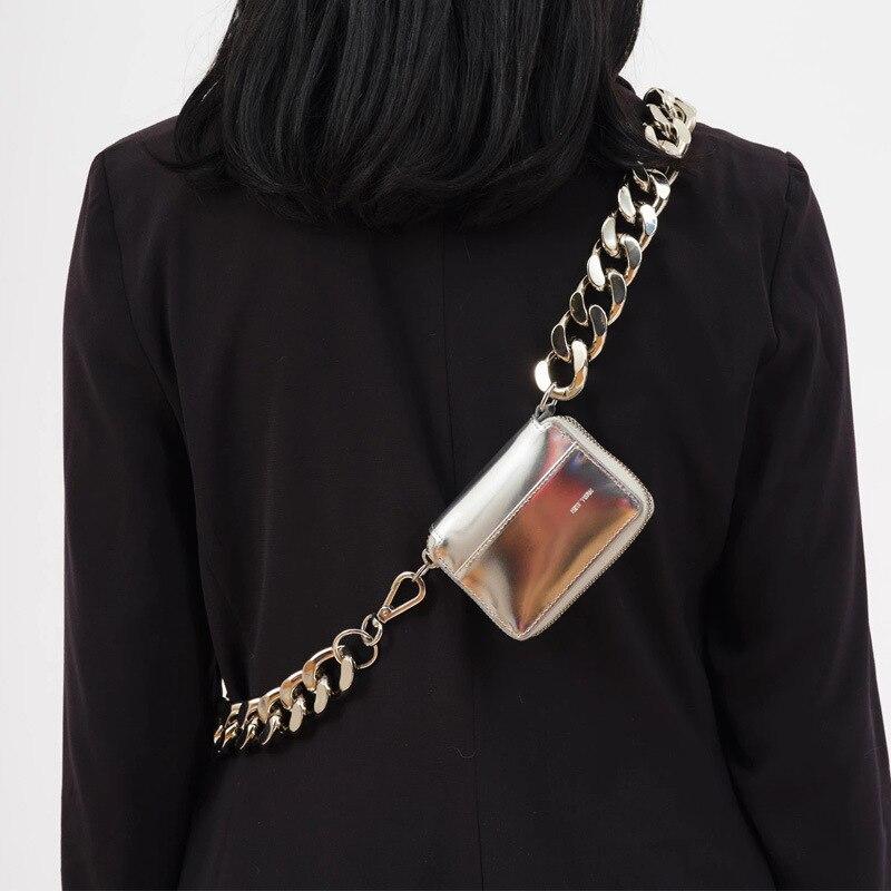 Thick Metal Chain Strap Small Women Chest Bag Handbag Luxury Shoulder Bag Mini Brand Lady Silver Messenger Bag