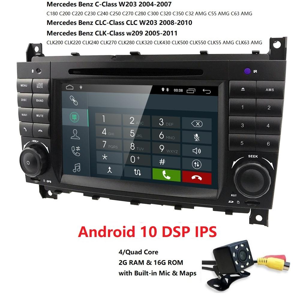 Android 10 Car DVD <font><b>Radio</b></font> Player For Mercedes <font><b>Benz</b></font> C Class <font><b>W203</b></font> Quad Core GPS <font><b>Navi</b></font> DSP RDS BT 4G WIFI OBD SWC CANBUS RUSSIAN,ECT image