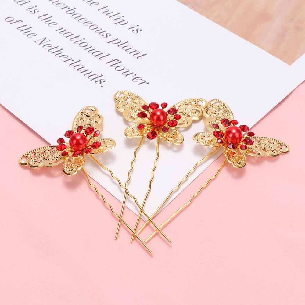 3 Pcs Bride Butterfly Hair Pin Wedding Dress Headdress Shaped Hairpin Costume
