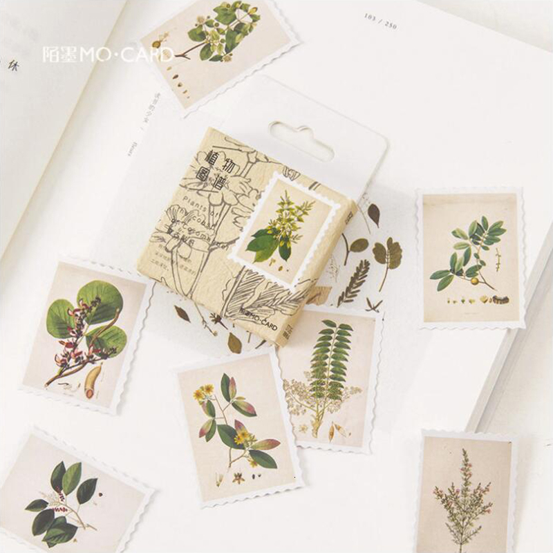 45Pcs/Pack Plant Map Pattern Stickers Decoracion Boxed Scrapbooking DIY Office Stationery School Supplies