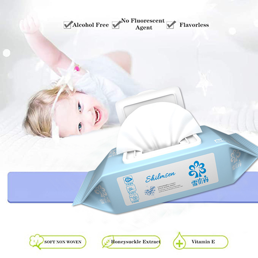 80 Wipes/pack Baby Antibacterial Mild Wet Wipe Tissue Clean Hand Health Care Antibacterial Wipes Wipes Container