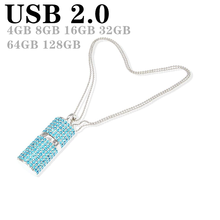 Unidad Flash Usb con collar de cristal en 3 colores, Memoria Usb de 128gb, 8GB, 16GB, 32g, 64g, 256G