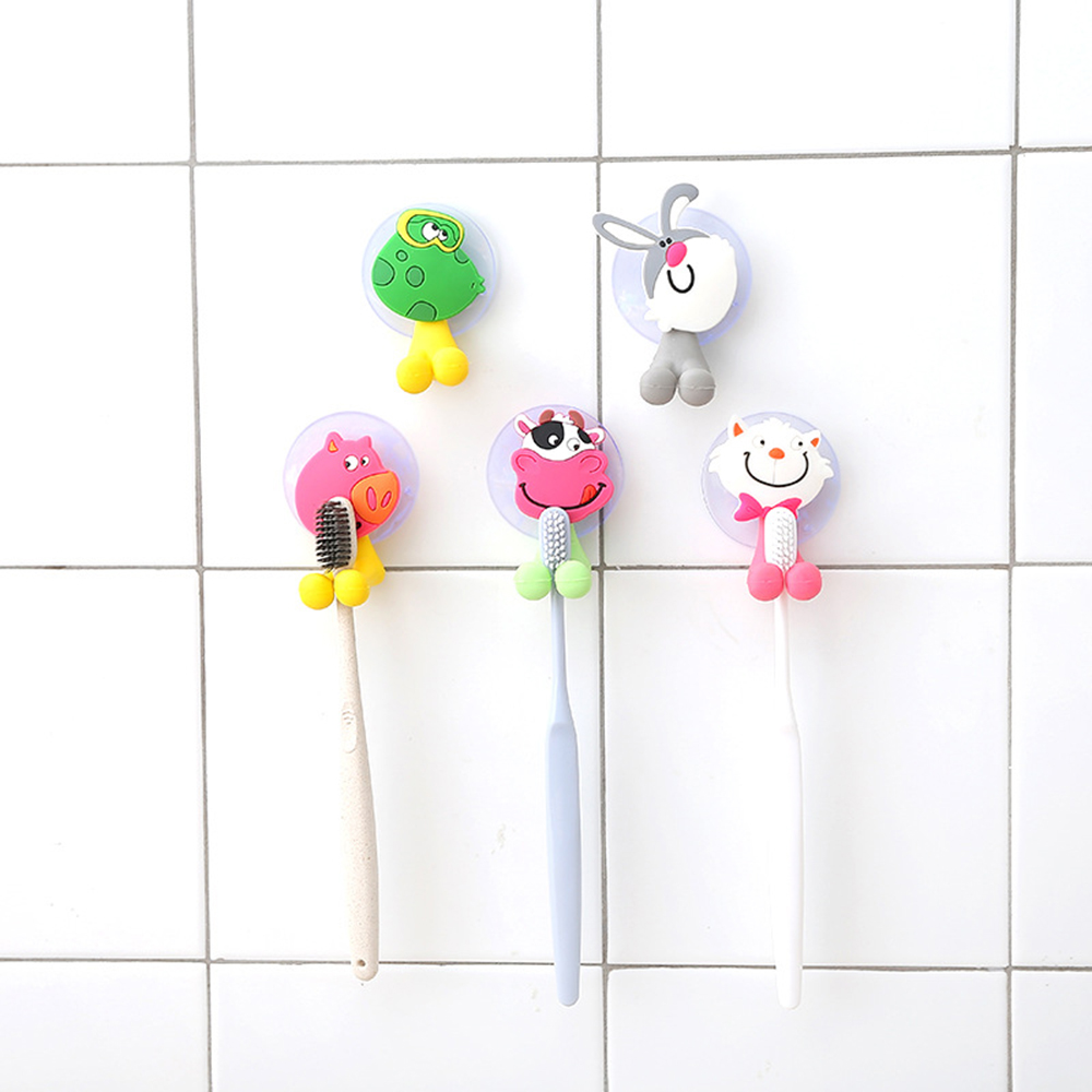 Animal Cute Funny Cartoon Suction Cup Toothbrush Holder Bathroom Accessories Set Wall Suction Holder Tools Colorful image