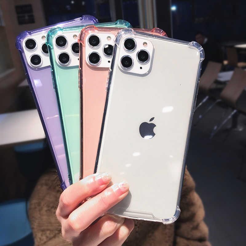 آيفون 11 برو X XR XS ماكس 6 6S 7 8 Plus جراب هاتف كاندي الألوان الفاخرة للصدمات الوفير شفاف لينة بولي For آيفون 11