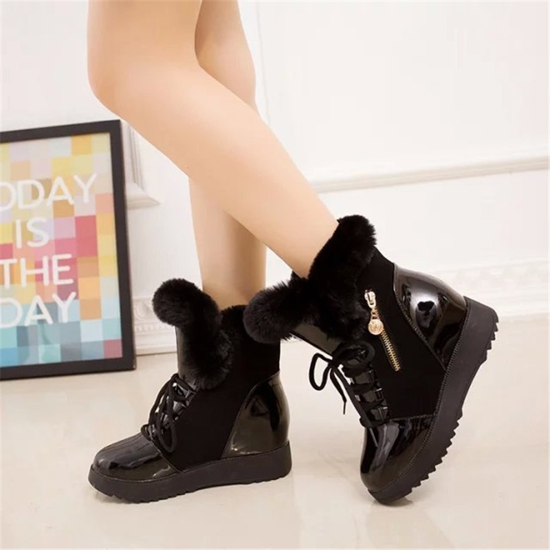 2019 Women Snow Boots Fashion Natural Wool Fur Winter Warm Ankle Boots For Women comfortable Lace-Up Flat Shoes Metal Decoration 20