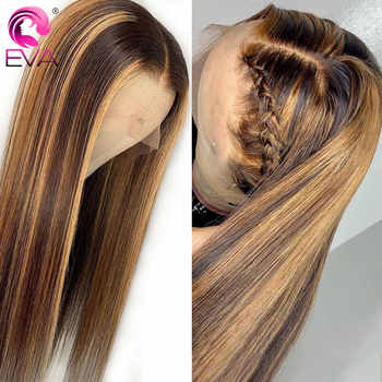 Eva 13x6 Ombre Lace Front Human Hair Wigs Pre Plucked With Baby Hair Colored Highlight Straight Lace Front Wigs Brazilian Remy - DISCOUNT ITEM  40 OFF Hair Extensions & Wigs