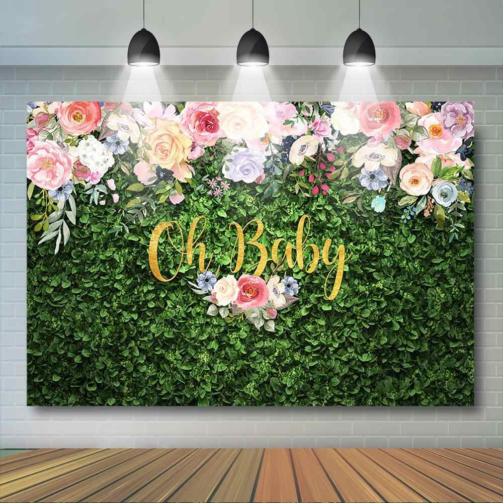 OERJU 5x4ft Green Backdrop Bokeh Halos Green Leaves Background for Photoshoot Newborn Baby Shower Cake Table Banners Birthday Party Decorations Supplies Kids Adults Portrait Photo Studio Props
