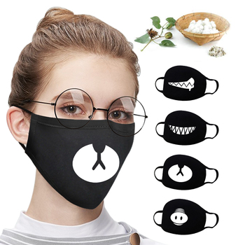 14types New Washable Men Women Cute Teeth Cartoon Pattern Face Mouth Mask Cotton Adult Kids Respirator Windproof Mascarillas