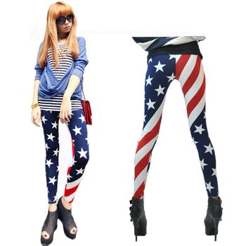Womens Mid Rise American Flag Ankle Patriotic Pants Contrast Color Star Stripes Stretchy Workout Fitness Tights front knot american flag patriotic tee