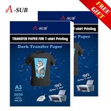 Трансферная бумага для рубашек A3/A4, темные цвета, 100% хлопчатобумажная ткань, ткань, струйная печать